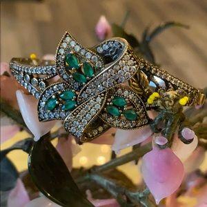 Antique 925 natural emerald &topaz bracelet